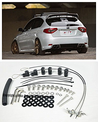 EOS Rear Wing Spoiler Riser Extender Lift Tilt Kit Silver - For Subaru Impreza STI WRX 3 Door Hatchback 08-14 2008 2009 2010 2011 2012 2013 2014
