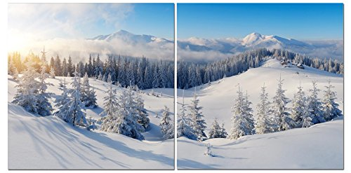 Canvas Wall Art Decor - 24x24 2 Piece Set (Total 24x48 inch) - Snow on Mountain Landscape - Decorative & Modern Multi Panel Split Canvas Prints for Dining & Living Room, Kitchen, Bedroom & Office
