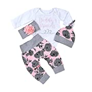 Fashion Baby Clothes Set, Cute Newborn Infant Baby Boy Girl Clothes Letter Rompers Coat Pants Clothes Set (White, 6-12months)