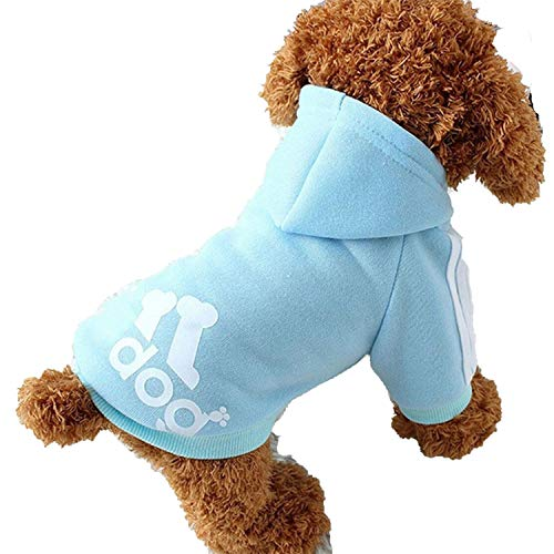 Warm Dog Clothes Small Dogs Winter Puppy Pet Coat Jackets Pet Sports Hoodies Chihuahua Pug French Bulldog Clothing Outfits,Sky Blue,XXL -