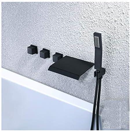 黒い滝の浴槽の蛇口温水と冷水3ハンドルバスルームの浴槽の蛇口壁掛け式のバスシャワーミキサータップハンドヘルドシャワー付き