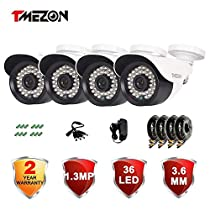 TMEZON 4 Pack AHD Over Analog HD 1.3 Megapixel 1500TVL 1/3 36 IR LEDs Indoor/Outdoor Weatherproof IP66 99ft Infrared Night Vision IR Cut Security Surveillance Bullet Camera Must be Used with AHD DVR