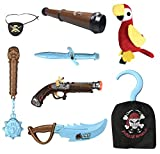 gun swords - Kids Pirate Costume Accessories Role Play Set with Glow in the Dark Weapons, Pistol, Sword, Hook, and Parrot Shoulder Prop