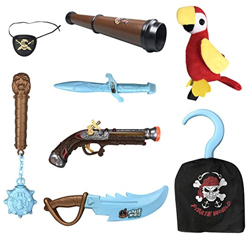 8-Piece Deluxe Pirate Weapons Costume Accessories Role Play Set for Kids with Glow in the Dark Weapons, Pistol, and Parrot