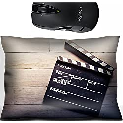 Liili Mouse Wrist Rest Office Decor Wrist Supporter Pillow vintage photo of movie clapper on wood 28047178