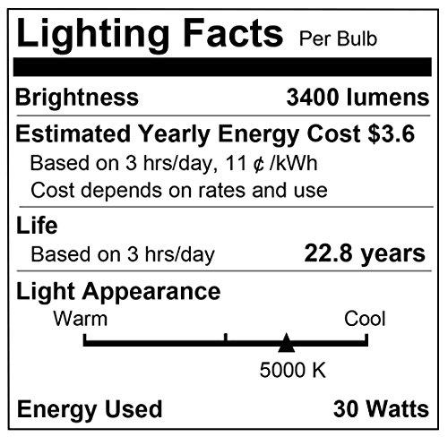 LOHAS 250W-300W Light Bulb Equivalent, 30W LED Bulb Daylight White 5000K with Free E26 to E39 Converter, 3400 Lumens, High Watt Commercial Retrofit LED Bulbs for Garage Warehouse Workshop(2 Pack) by LOHAS (Image #2)