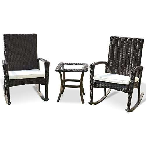 CHOOSEandBUY 3 pcs Patio Rattan Rocking Chairs & Table Set ()