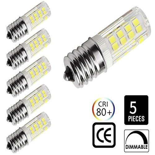 E17 LED Bulb Microwave Oven Light ,4 Watt 6000K dimmable 52x2835SMD AC110-130V Daylight White (Pack of 5) (Daylight White)