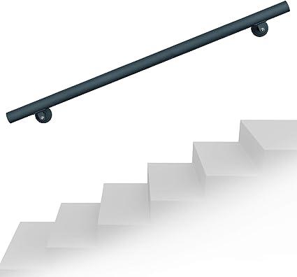 Set pasamanos barandilla montaje pared 100cm Antracita Acero Sujección Escalera Seguridad Decoración: Amazon.es: Oficina y papelería