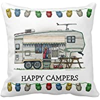 Cute Rv Vintage Fifth Wheel Camper Travel Trailer Home Throw Pillow Case Pillow Case Covers Decorative Cover For Sofa 18X18 Inches