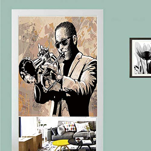 3D printed Magic Stickers Door Curtain,Jazz Music,Grunge Style Illustration of African Musician with Sunglasses Playing Trumpet,Beige Black ,Privacy Protect for Kitchen,Bathroom,Bedroom(1 ()