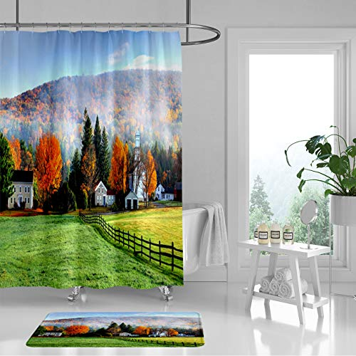 RLDRESS Bathroom Color Shower Curtain Liner (Pack of 2) with Hook,Thick-Polyester-Waterproof,Autumn Mist in The Village of Tyringham in The Berkshires-54 Wx72 H/16