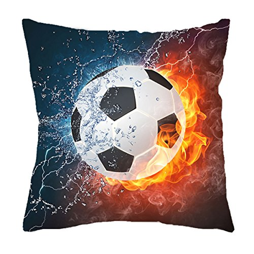 VIPbuy Home Décor Super Soft Short Plush Square Throw Pillow Case Sofa Cushion Cover with Invisible Zipper- 18 x 18 inches -No Insert- Soccer Ball Theme (Soccer Pillow Plush)