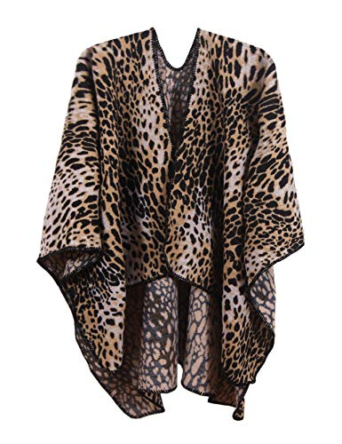 (MissShorthair Women's Leopard Printed Shawl Wrap Fashionable Open Front Poncho Cape)