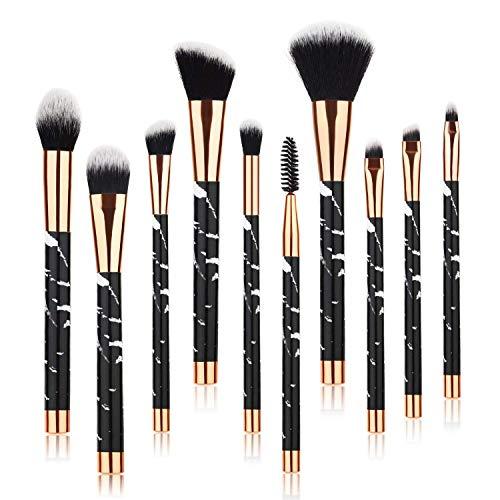Beauty Kate Marble Makeup Brushes 10 PCS Makeup Brush Set Premium Face Eyeshadow Eyebrow Blush Contour Foundation Fluffy Crease Cosmetic Brush Set for Powder Liquid Cream