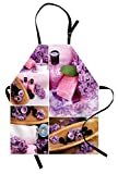 Lunarable Spa Apron, Aromatic Spa with Lilac Petals Fresh Therapy Oils Bath Salt Soap Relax Meditation Collage, Unisex Kitchen Bib Apron with Adjustable Neck for Cooking Baking Gardening, Violet