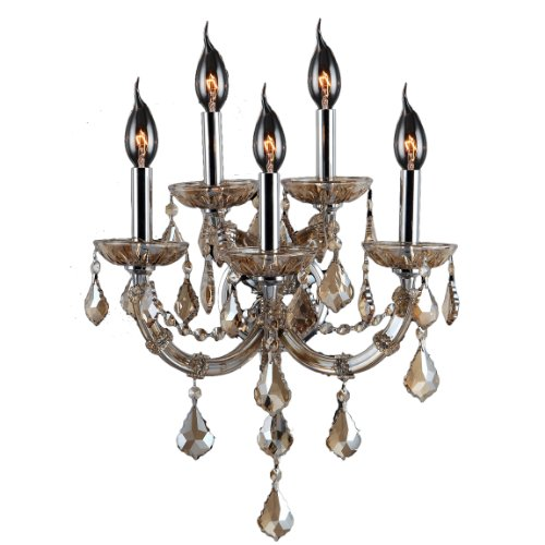 Worldwide Lighting Lyre Collection 5 Light Chrome Finish and Golden Teak Crystal Wall Sconce 15