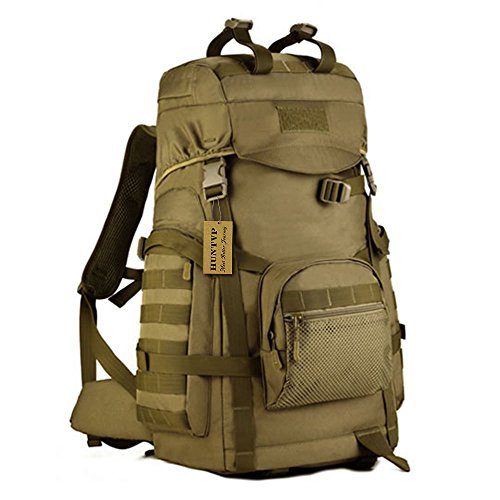 Huntvp 55L Tactical Military MOLLE Assault Backpack Pack Large Waterproof Bag Rucksack Sport Outdoor Gear For Hunting Camping Trekking