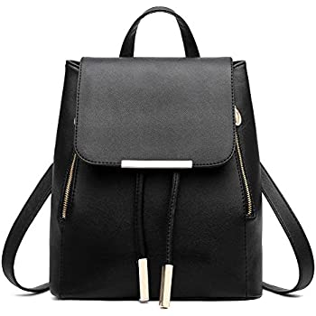Z-joyee Casual Purse Fashion School Leather Backpack Shoulder Bag Mini  Backpack for Women   Girls Black a093142a95fe3