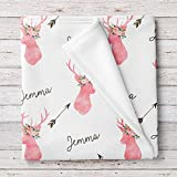 Lovable Gift Co Personalized Deer Fleece Baby Girls Blanket, Woodland Nursery décor White