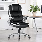 High-Back Executive Office Chair Leather, Adjustable Ergonomic Swivel Computer Desk Chair with Flip-up Armrest,Back Support for Working, Studying Big and Tall