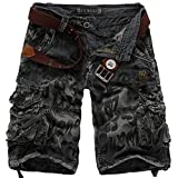 Geval Men's Relaxed Fit Cotton Cargo Short Pants With Multi Pockets Blue