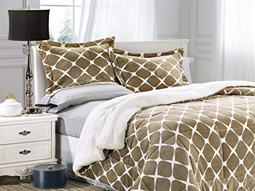 Elegant Comfort  Softest, Coziest Premium Quality Heavy Weight Bloomingdale Pattern Micromink Sherpa-Backing Reversible Down Alternative Micro-Suede 3-Piece Comforter Set Queen Mocha