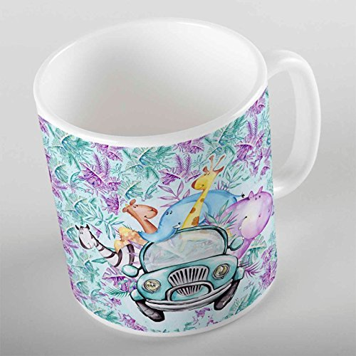 Else Kids Funny Animals in The Car Porcelain Coffee Tea Mug
