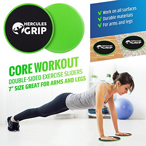 HerculesGrip Ab Wheel Roller, Adjustable Jump Rope, 2x Dual Sided Gliding Discs & 3x Loop Resistance Bands 4 In 1 Home Gym Total Body Workout Equipment Set For Core, Cardio, Abs, Legs & Arms Training