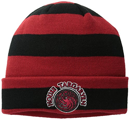 Show Hat Game - Game of Thrones Men's Striped Cuff Beanie with Targaryen Patch, Red One Size