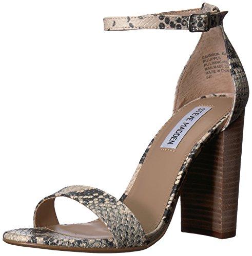(Steve Madden Women's Carrson Heeled Sandal, Grey Snake, 9.5 M US)