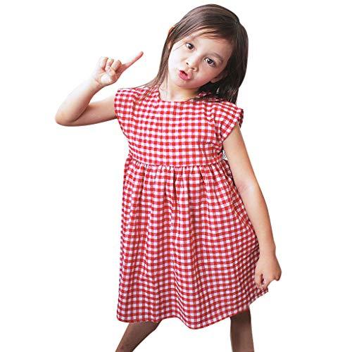 Toddler Kids Baby Girls Sleeveless Plaid Casual Princess Dress Comfy Sundress Summer Red