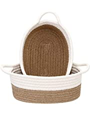 Sea Team 2-Pack Cotton Rope Baskets, 10 x 3 Inches Small Woven Storage Basket, Fabric Tray, Bowl, Round Open Dish for Fruits, Jewelry, Keys, Sewing Kits