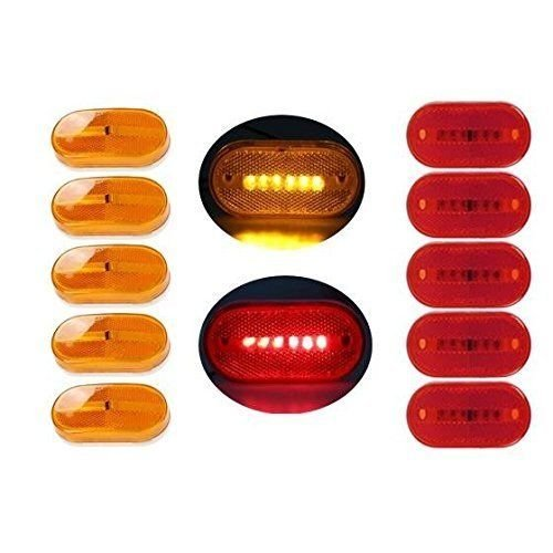 """Partsam 5 Amber + 5 Red surface Mount Side Marker 6 Leds Clearance Lamp w/ Removable Lens, 4"""" x 2"""" Rectangle Trailer Clearance or Side Marker Lights w/ Reflex Reflector"""