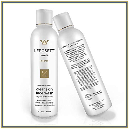 LEROSETT Clear Skin Face Wash 6.7oz | Healing Cleanser for Oily, Irritated, Sensitive Skin, Gentle, Non-Drying | 12-Herbal Extracts, 65% Healing Aloe, Pro-Vitamin | All Skin Types, Spa-Grade (Best Face Wash For Irritated Skin)