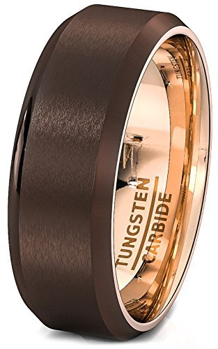 ec2f5e95b9971 Duke Collections Mens Wedding Band Rare Brown Tungsten Ring Inside Rose  Gold Beveled Edge Comfort Fit