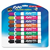 Expo Low Odor Chisel Tip Dry Erase Markers, 16 Colored Markers (81045) Assorted Colors Case of 12 Packs