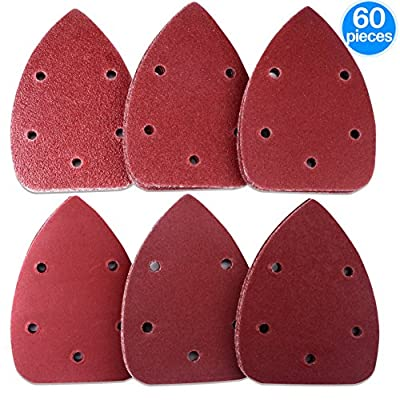 AUSTOR 60 Pieces Mouse Detail Sander Sandpaper Sanding Paper Hook and Loop Assorted 40/ 60/ 80/ 120/ 180/ 240 Grits