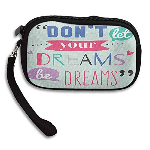 Quotes Coin Purse Money Bag Dont Let Your Dreams be Dreams Proverb Encouragement Success Message W 5.9