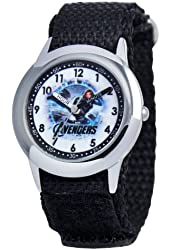 Marvel Kids' W000306 Marvel Avenger Kid's Stainless Steel Time Teacher Black Velcro Strap Watch