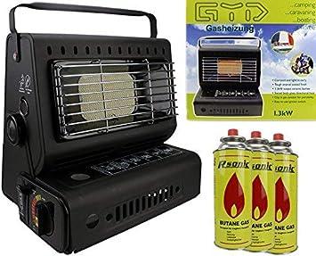 Calefactor de Camping Gas, 1,3 kW, Foco de Gas cerámica para Camping + 3 Cartuchos de Gas incluidos