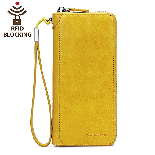 Rfid Blocking Large Capacity Zipper Around Travel Wristlet Bags (Yellow) ()
