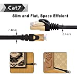 Cat 7 Shielded Ethernet Cable 5 ft 6 Pack (Highest Speed Cable) Cat7 Flat Ethernet Patch Cables - Internet Cable for Modem, Router, LAN, Computer - Compatible with Cat 5e,Cat 6 Network 13 ✔High Quality: Made of 4 shielded twisted pairs (STP) of copper wire with gold plated contact pins in each RJ45 Connector. This provides great resistance to crosstalk, noise, and interference. ✔High Speed: Supports 600MHz high-speed data transfer for server applications, cloud storage, video chatting, high definition video streaming, and gaming. Cat7 cables are the best generation. ✔High Compatibility:The Class F channel and Cat7 cable are compatible with cat5, cat5e, and cat6. Class F has less cross-talk and system noise past than Class E thanks to intelligent shielding.