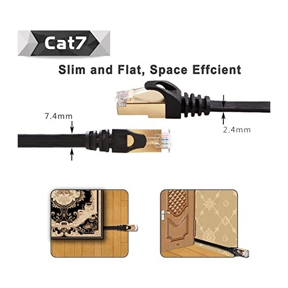 Cat 7 Shielded Ethernet Cable 5 ft 6 Pack (Highest Speed Cable) Cat7 Flat Ethernet Patch Cables - Internet Cable for Modem, Router, LAN, Computer - Compatible with Cat 5e,Cat 6 Network 6 ✔High Quality: Made of 4 shielded twisted pairs (STP) of copper wire with gold plated contact pins in each RJ45 Connector. This provides great resistance to crosstalk, noise, and interference. ✔High Speed: Supports 600MHz high-speed data transfer for server applications, cloud storage, video chatting, high definition video streaming, and gaming. Cat7 cables are the best generation. ✔High Compatibility:The Class F channel and Cat7 cable are compatible with cat5, cat5e, and cat6. Class F has less cross-talk and system noise past than Class E thanks to intelligent shielding.