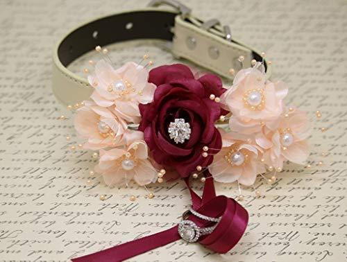 Burgundy Peach flower dog collar, dog ring bearer, dog of honor, proposal, handmade, Red rose, Pearl beaded collar, White, black, Ivory, Red, Champagne dog collar, handmade, leather