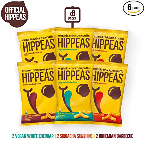 HIPPEAS Organic Chickpea Puffs + Variety Pack | 4 ounce, 6 count | Vegan, Gluten-Free, Crunchy, Protein Snacks (The Best Baked Beans On The Planet)