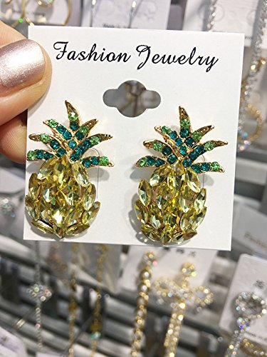 Retro Pineapple 18K Gold Plated CZ S925 Sterling Silver Yellow and Green Crystal Rhinestone Stud Dangle Drop Earrings Fashion Jewelry For Women Girls
