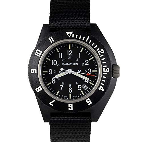 Marathon Watch WW194013-BK-NGM 2019 Edition Navigator Swiss Made Military Issue Pilot's Watch w/Date, Tritium, Sapphire Crystal, Steel Crown, Battery Hatch, ETAF06 Movement(41mm,Black,No Gov't Mark)