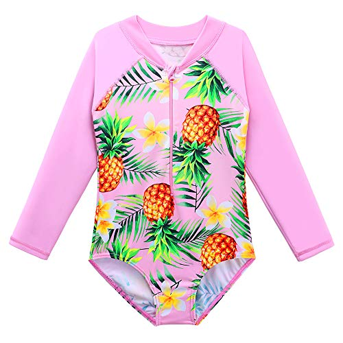 TFJH E Little Girls Rash Guard Swimsuit UV 50+ Long Sleeve One Piece Bathing Suit Pink Pineapple 140/146 ()