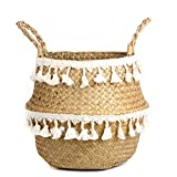 BlueMake Tassel Macrame Woven Seagrass Belly Basket for Storage, Decoration, Laundry, Picnic, Plant Basin Cover, Groceries and Toy Storage (Large, Tassel)
